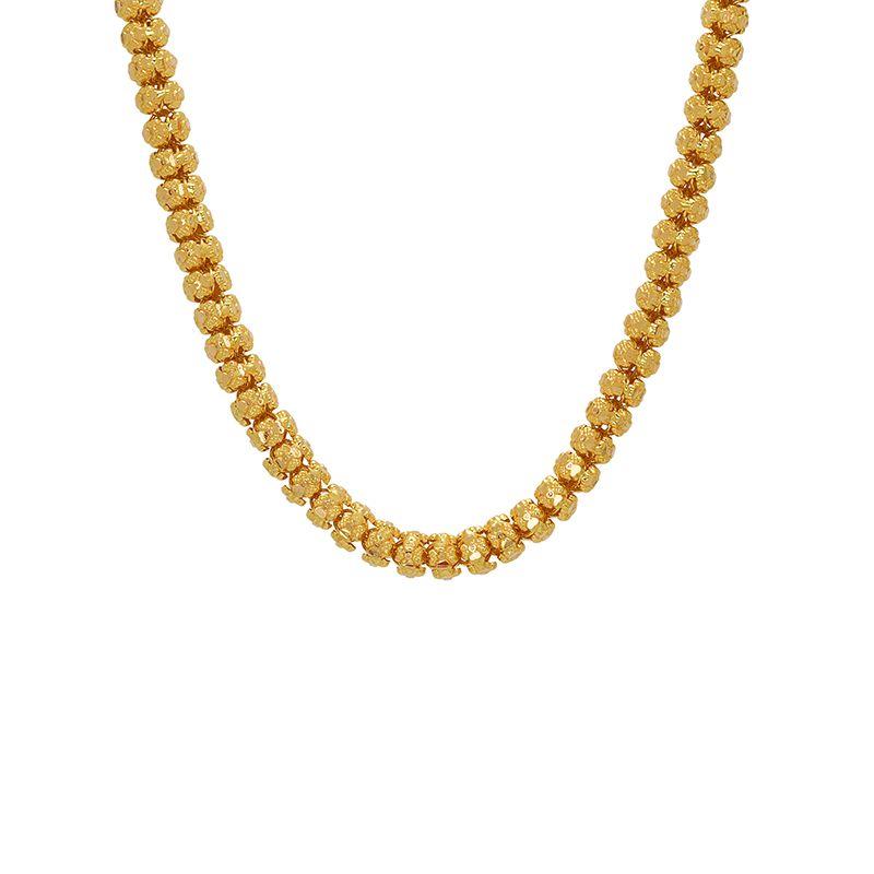 22k Gold Long Filigree Beads Necklace