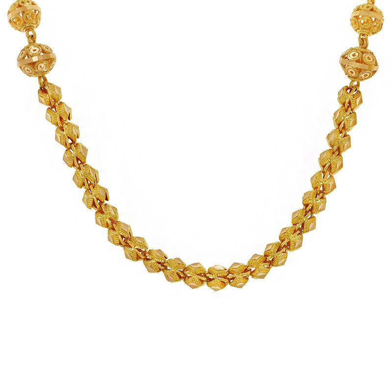 22k Gold Mesh Beaded Chain Necklace