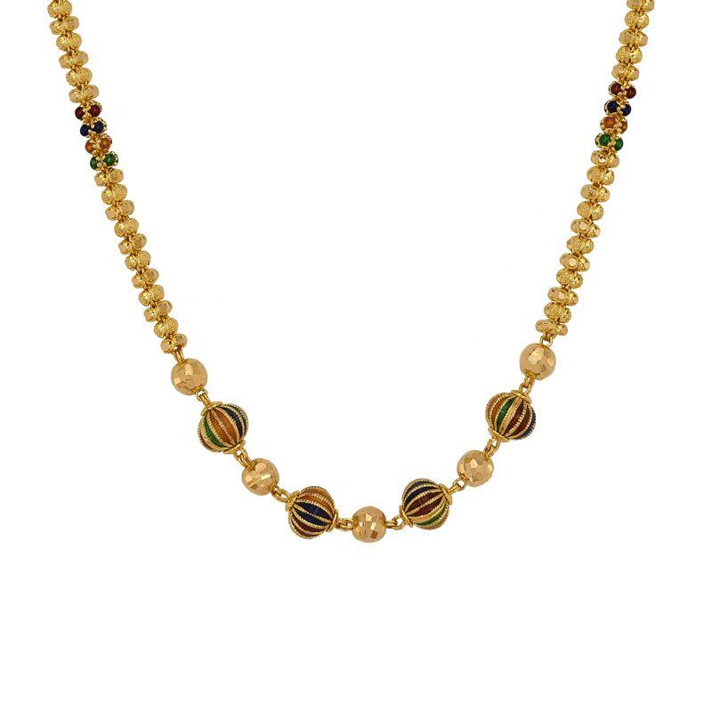 22k Gold Filigree Meenakari Ball Chain
