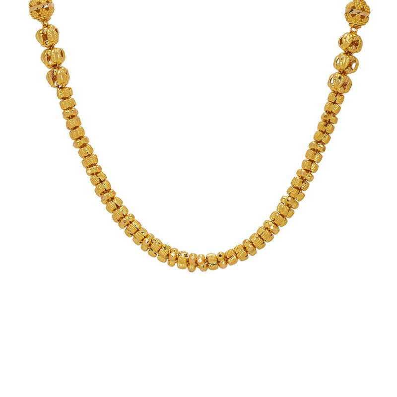 22k Gold Long Fancy Beads Necklace