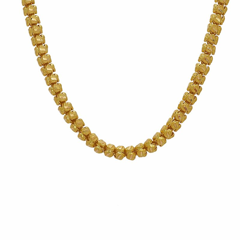 22k Gold Long Textured Beads Necklace