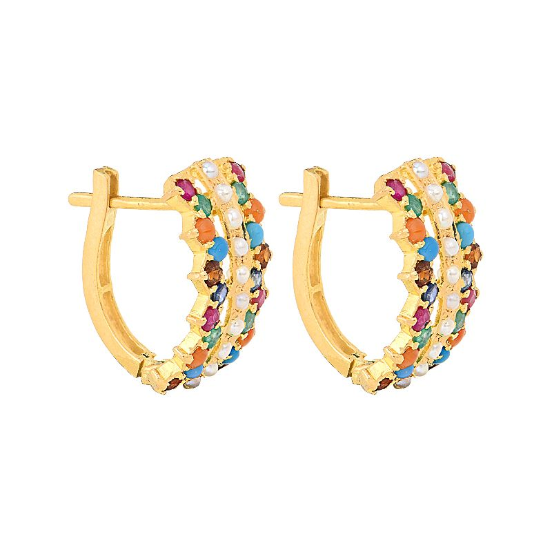 22k Gold Colorful Gems Gold Huggies