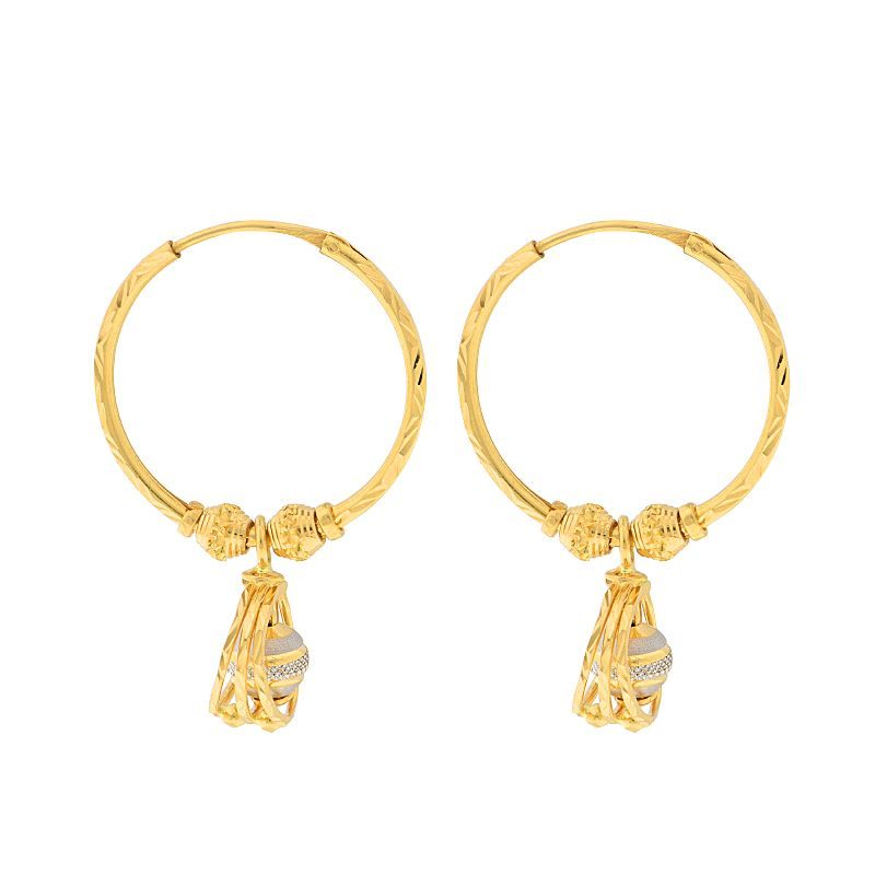 22k Gold Two-Tone Dangle Hoops