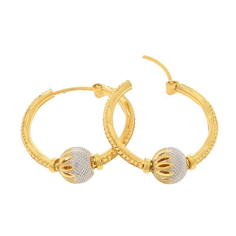 22k Gold Spinning Balls Gold Hoops