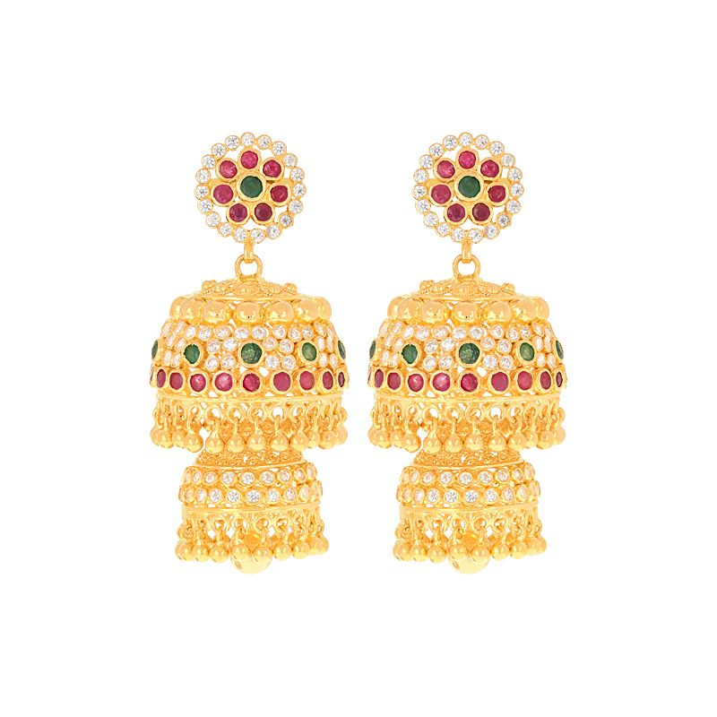 22k Gold Two Step Gold Jhumkas
