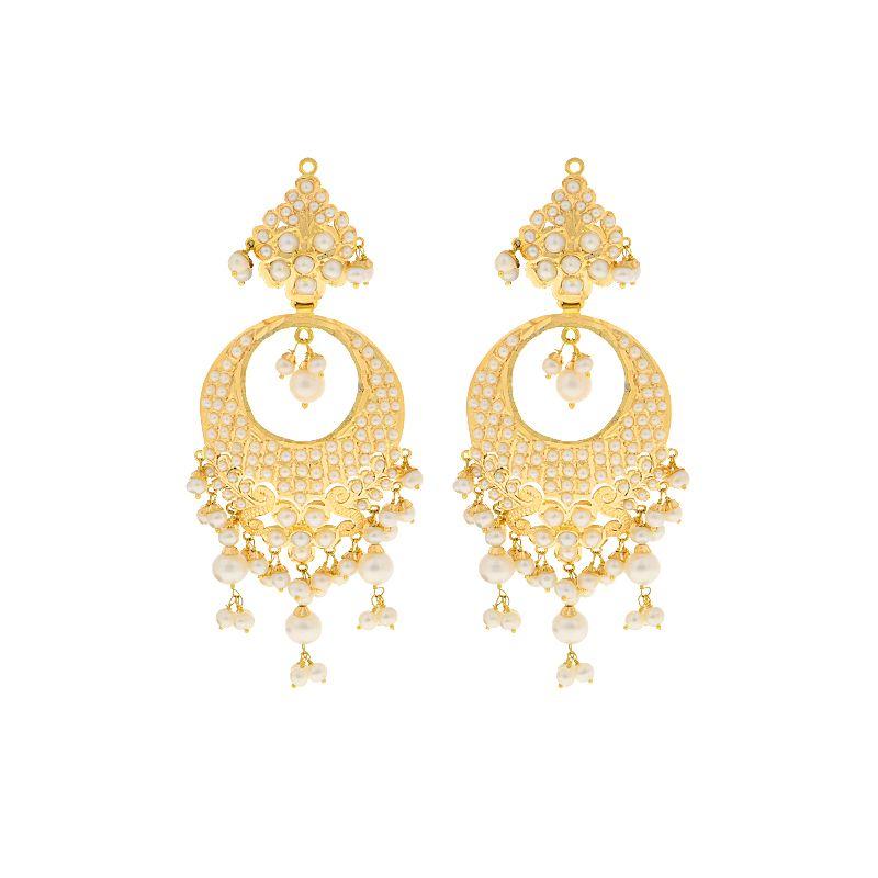 22k Gold Glamorous Pearl Chand Balis