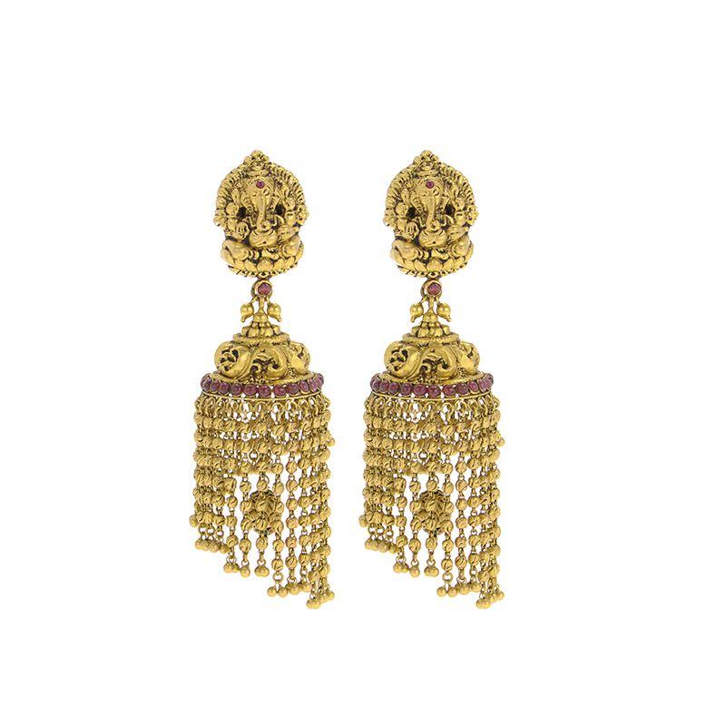 22k Gold Temple Dangle Chain Jhumkas