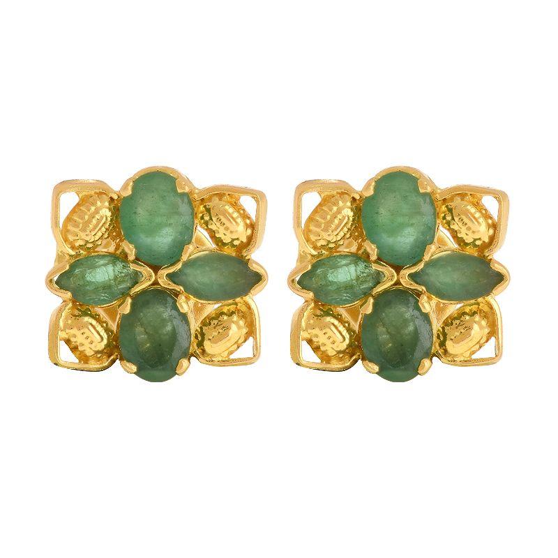 22k Gold Green Emerald Studs