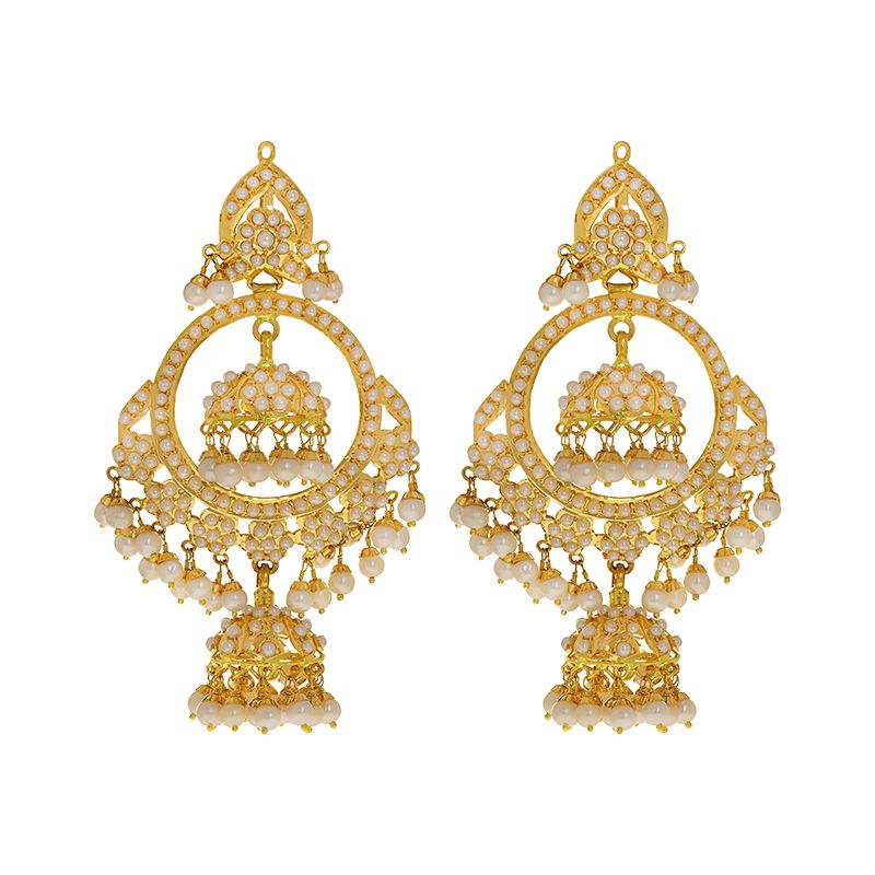 22k Gold Layered Pearl Jhumka Balis