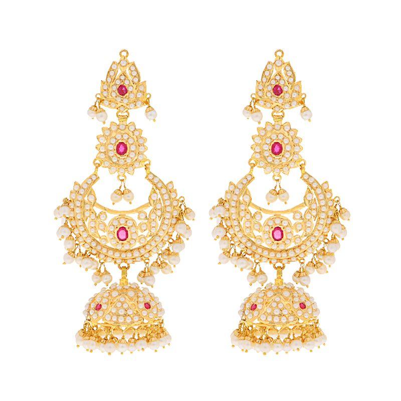 22k Gold Pearl Ruby Jhumka Bali