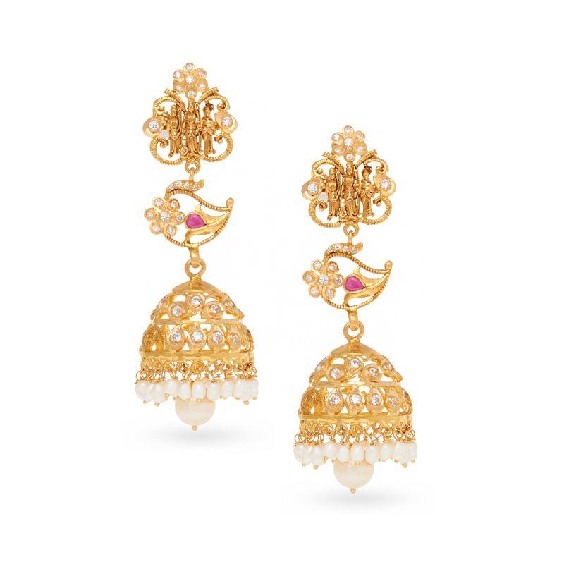 22k Gold Ram Parivar Gems Jhumkas