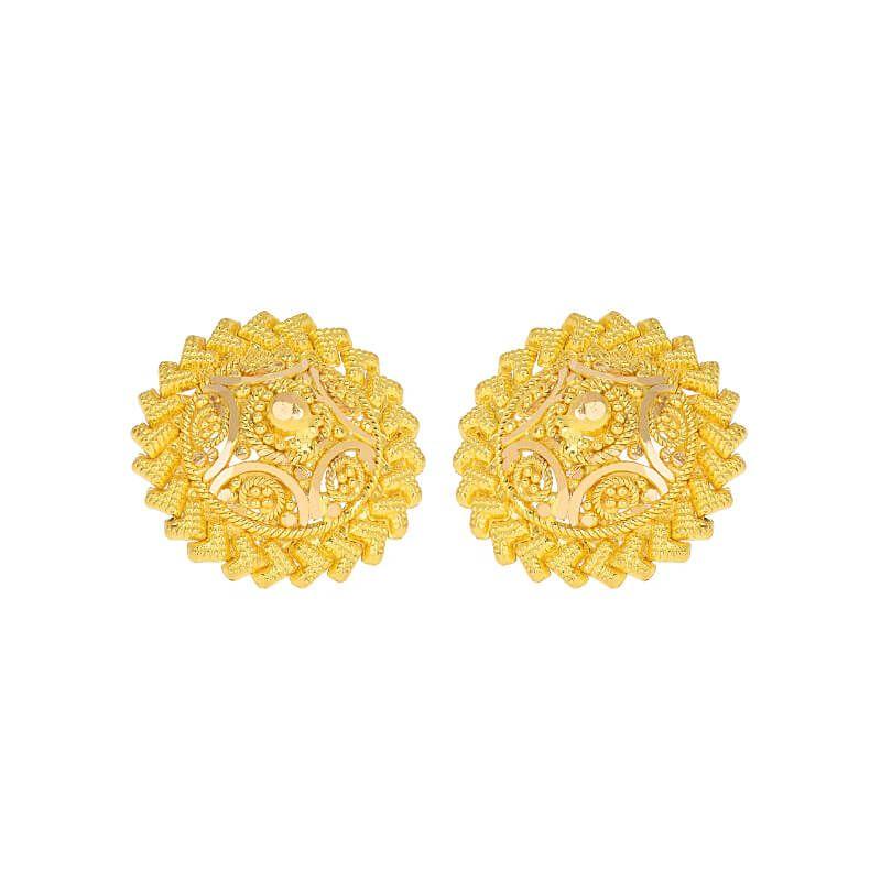 22k Gold Sunburst Circular Studs