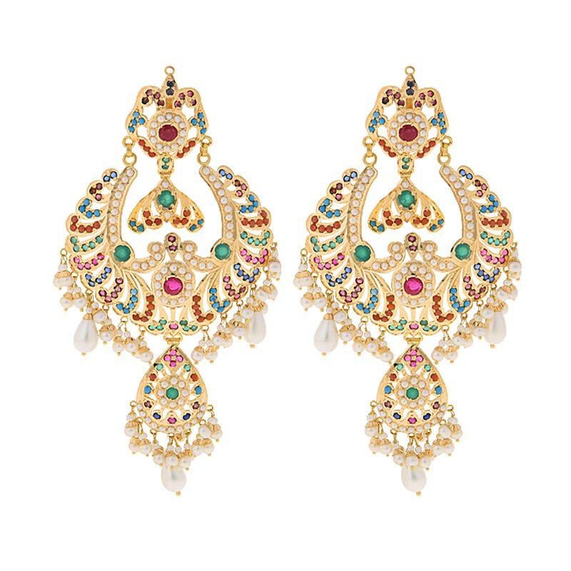 22k Gold Pearls Gems Chand Bali