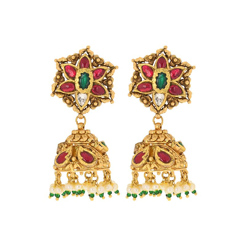 22k Gold Pachi Diamond Jhumkas