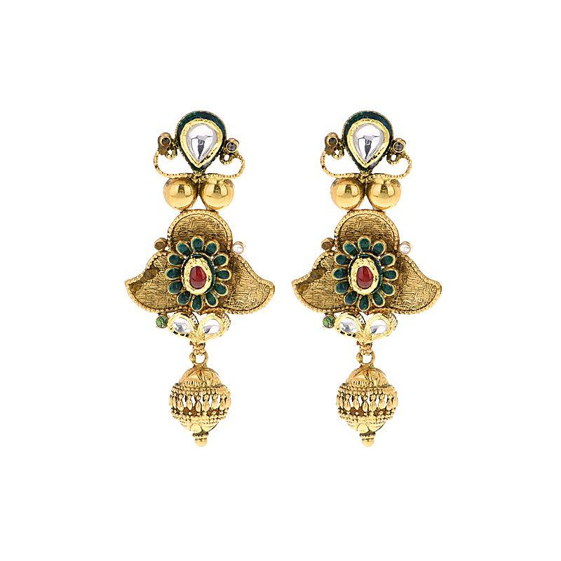 22k Gold Anvi Antique Drop Earrings