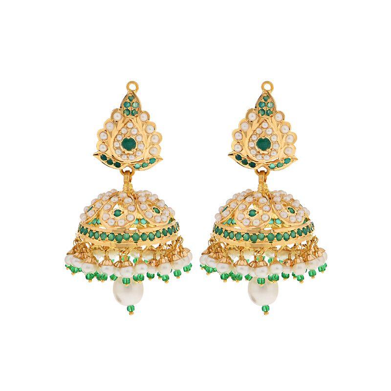 22k Gold Lustrous Pearl Emerald Jhumkas