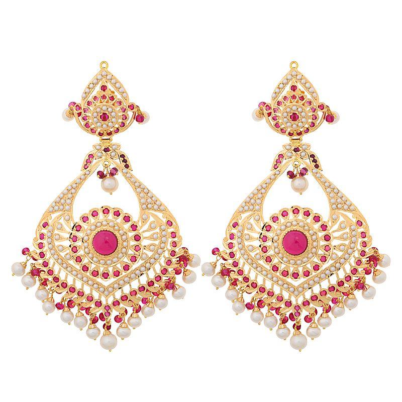 22k Gold Pearl Ruby Chand Bali