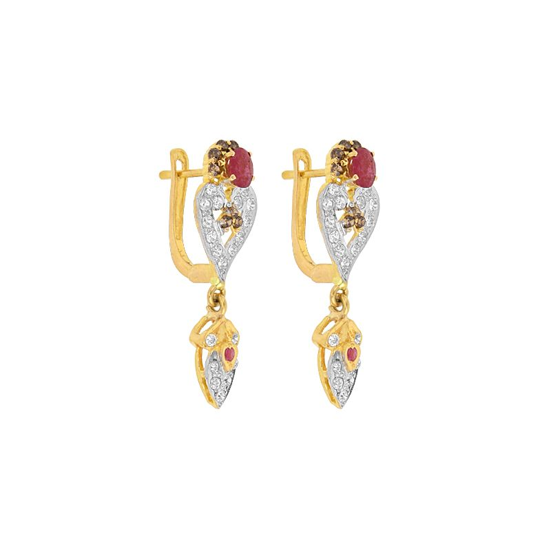 22k Gold CZ Drop Gems Huggies