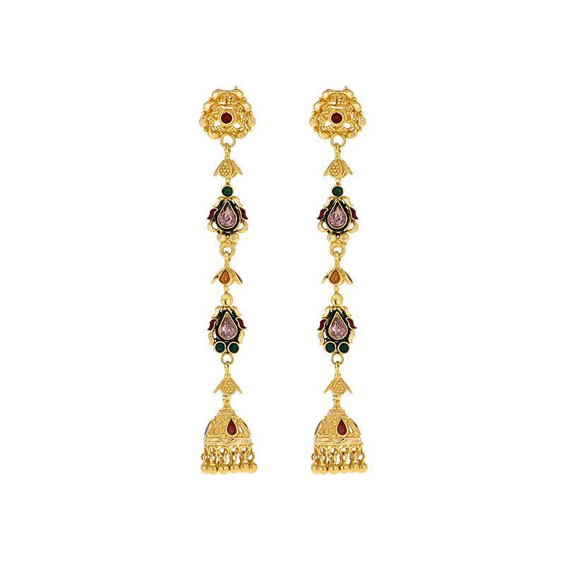 22k Gold Long Jhumki Drop Earrings