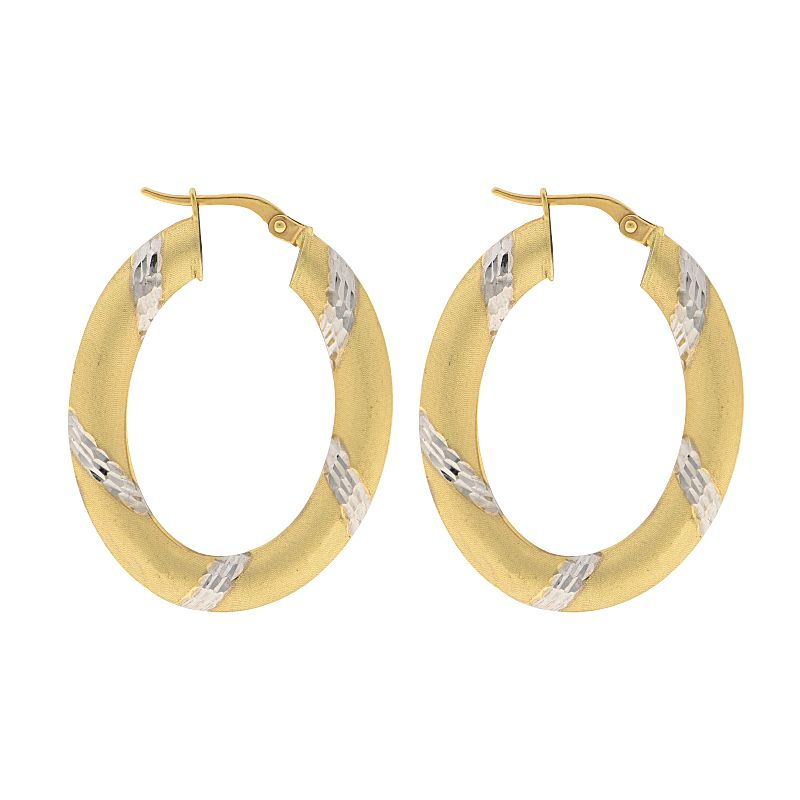 18k Gold Oval Gold Hoops