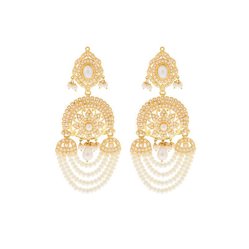 22k Gold Layered Pearl Chand Balis