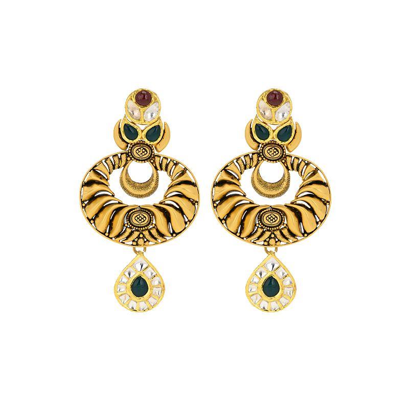22k Gold Antique Gems Chand Bali