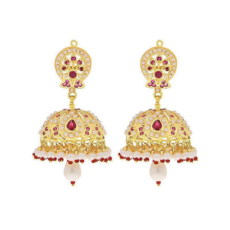 22k Gold Shimmering Ruby Gold Jhumkas
