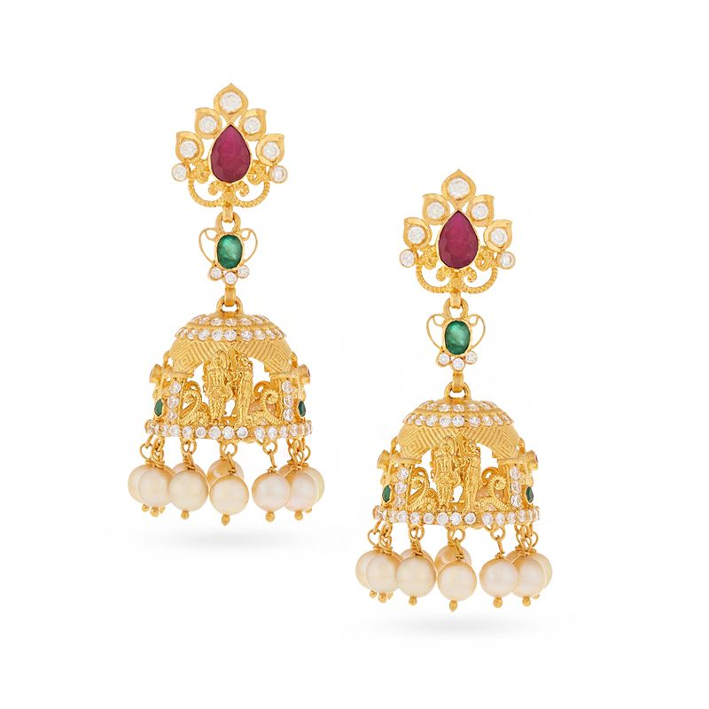 22k Gold Ram Sita Jhumka Earrings