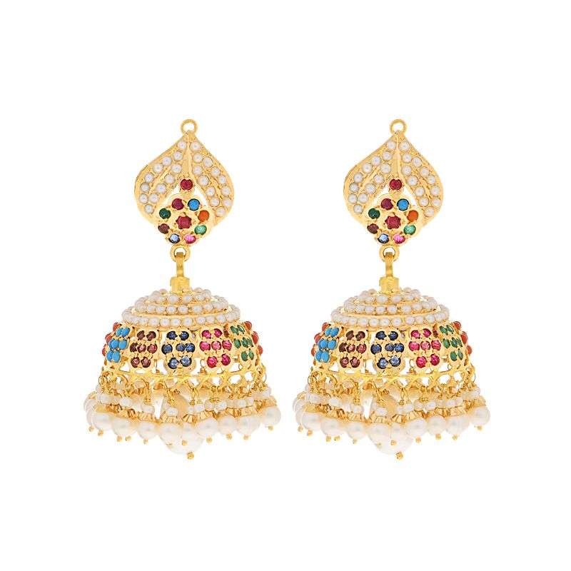 22k Gold Pearl Gems Jhumkas