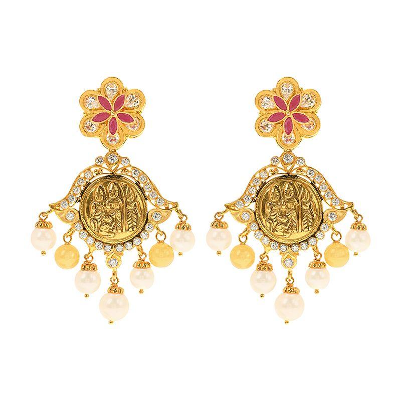22k Gold Ram Parivar Dangle Earrings