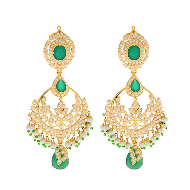 22k Gold Pearl Emerald Chand Bali