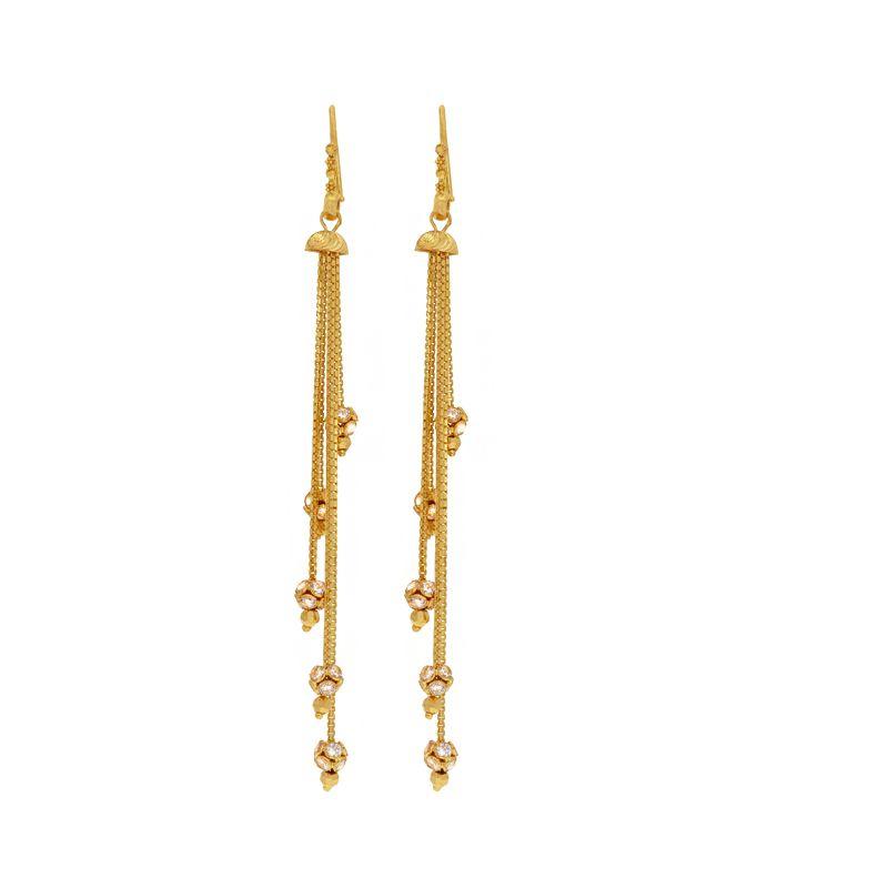 22k Gold Cz Tassel Earrings
