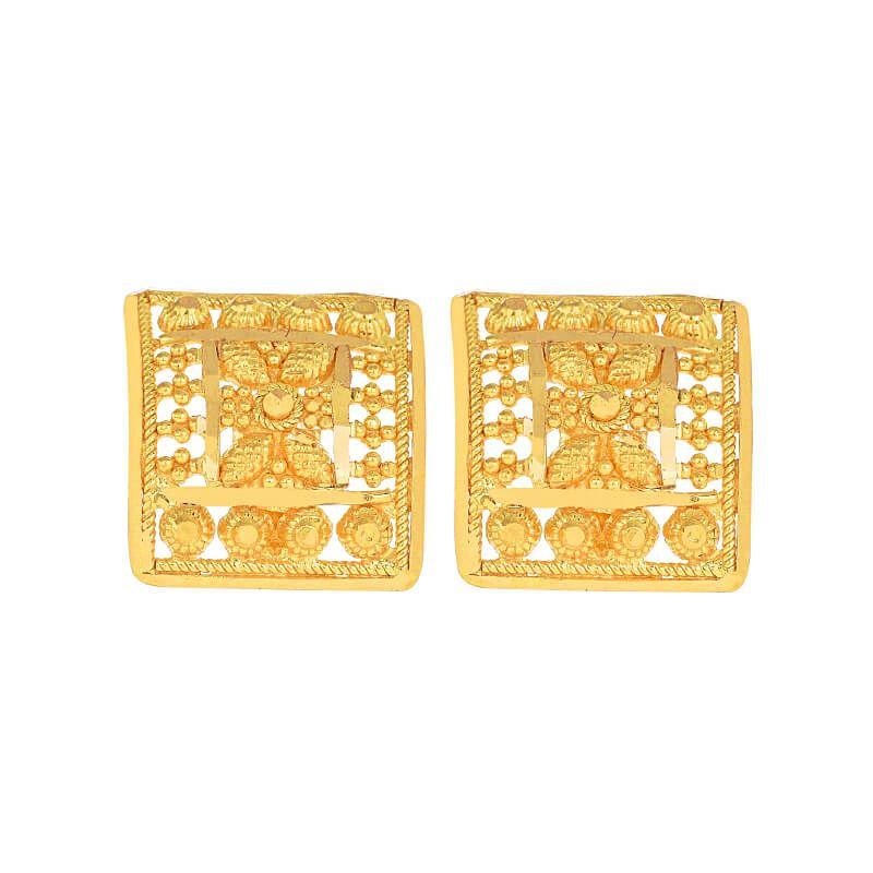 22k Gold Stretch Square Filigree Studs