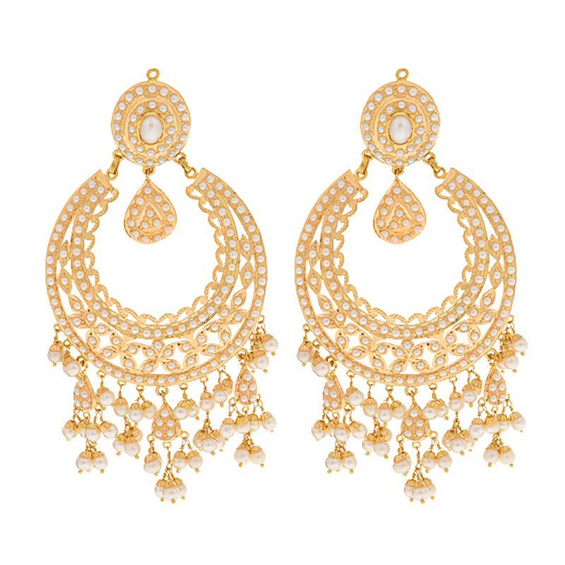 22k Gold Pearl Dangles Chand Balis