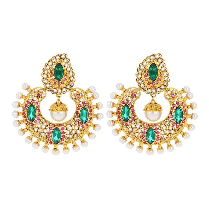 22k Gold Polki Emerald Chand Bali
