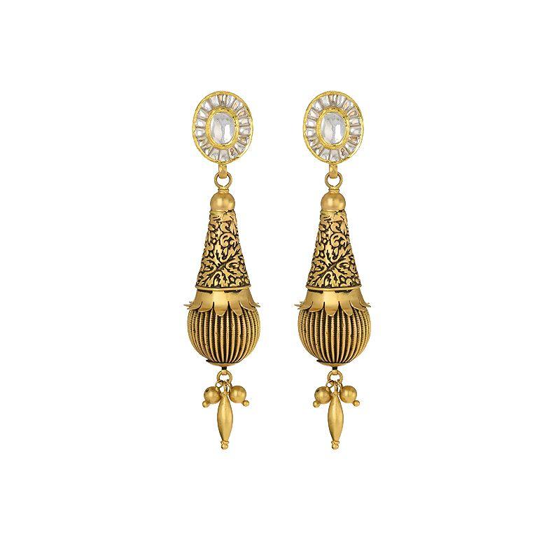 22k Gold Long Antique Kundan Earrings
