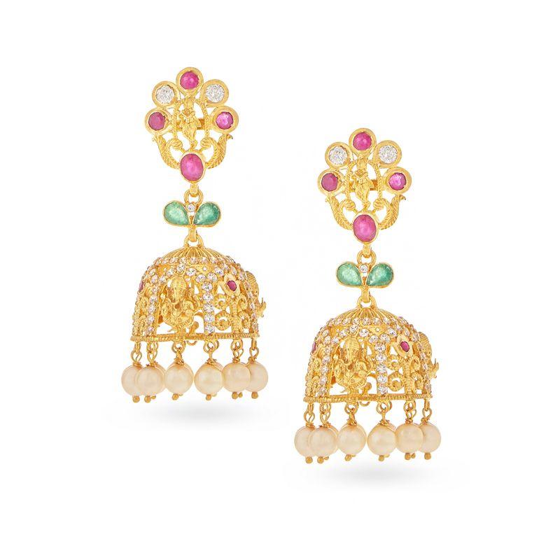 22k Gold Krishna Ganesha Gems Jhumkas