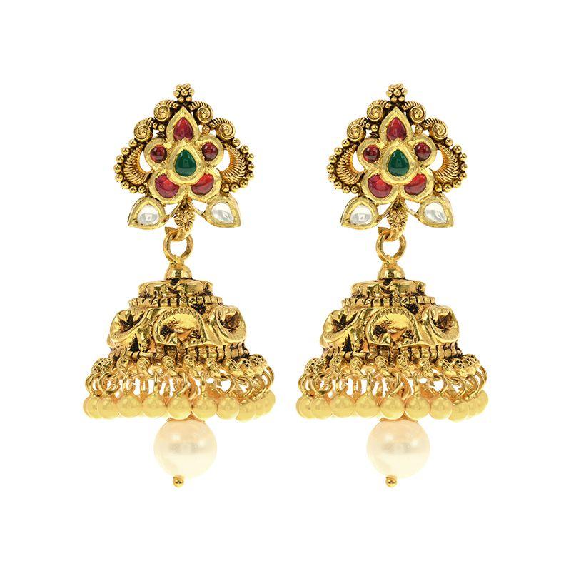 22k Gold Antique Kundan Jhumkas