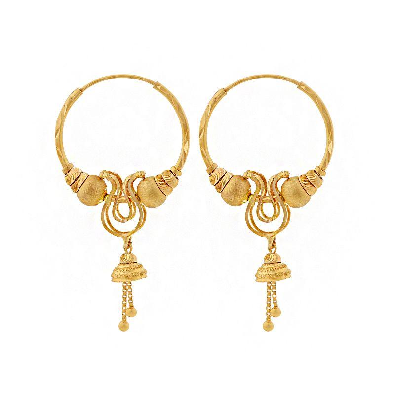 22k Gold Dangle Jhumki Drop Hoops