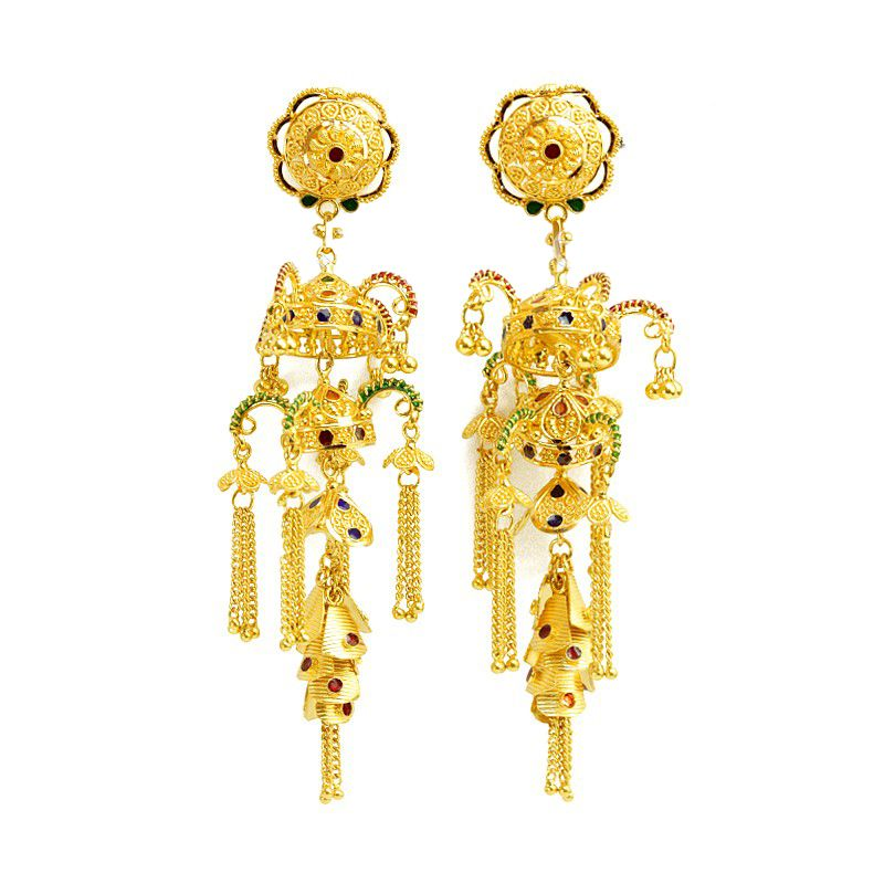 22k Gold Chandelier Gold Earrings