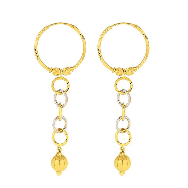 22k Gold Hoop Drop Earrings