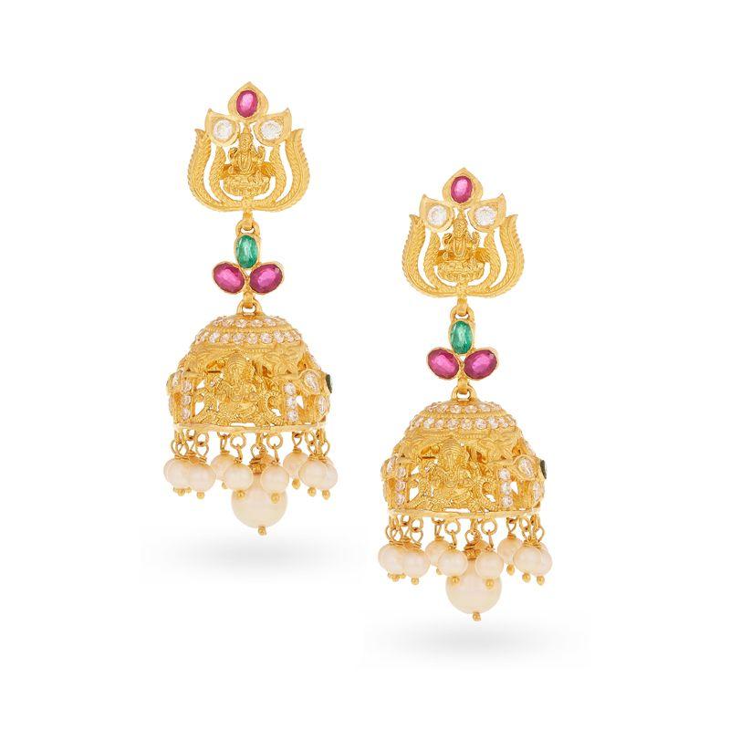 22k Gold Lakshmi Ganesha Gems Jhumkas