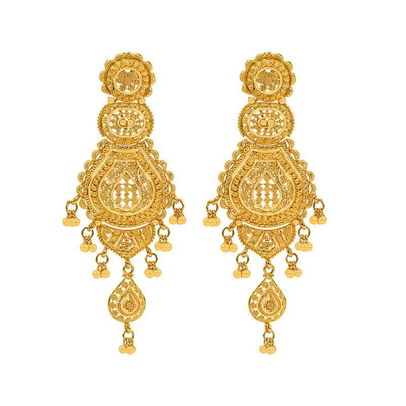 22k Gold Long Filigree Dangle Earrings