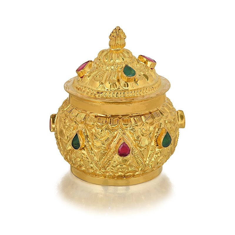 22k Gold Carved Gems KumKum Box