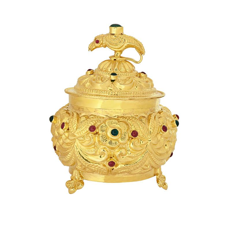 22k Gold Fancy Gold KumKum Box