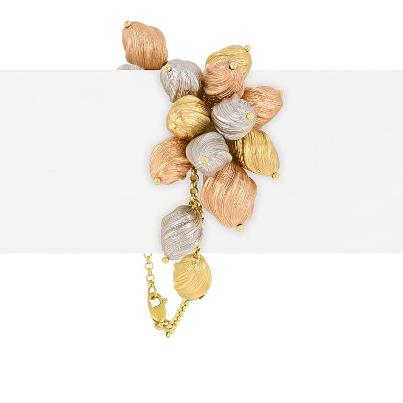 18k Gold Tri-Tone Cluster Bracelet