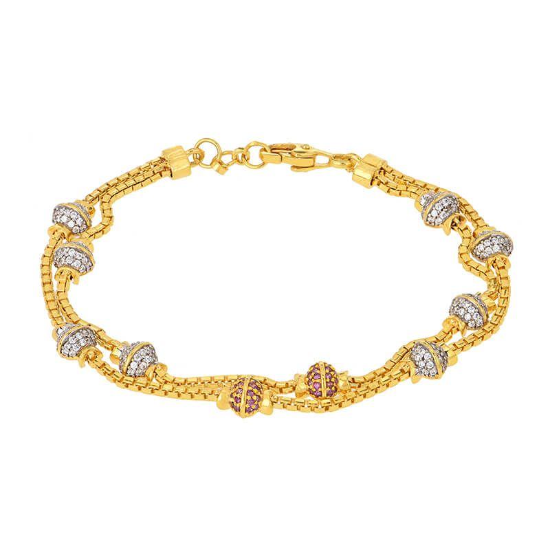 22k Gold CZ Beads Chain Bracelet