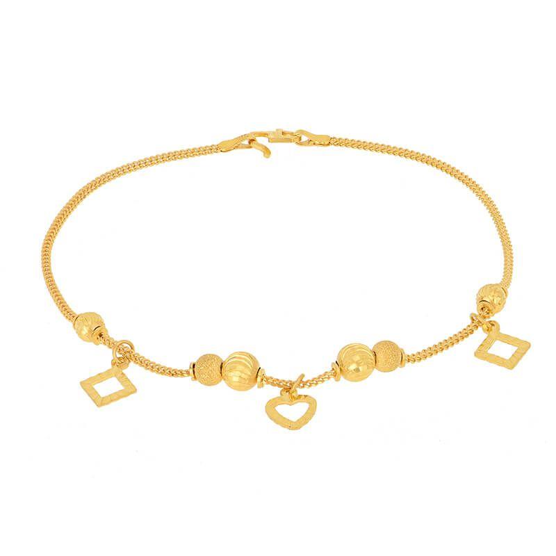 22k Gold Dainty Heart Charms Bracelet