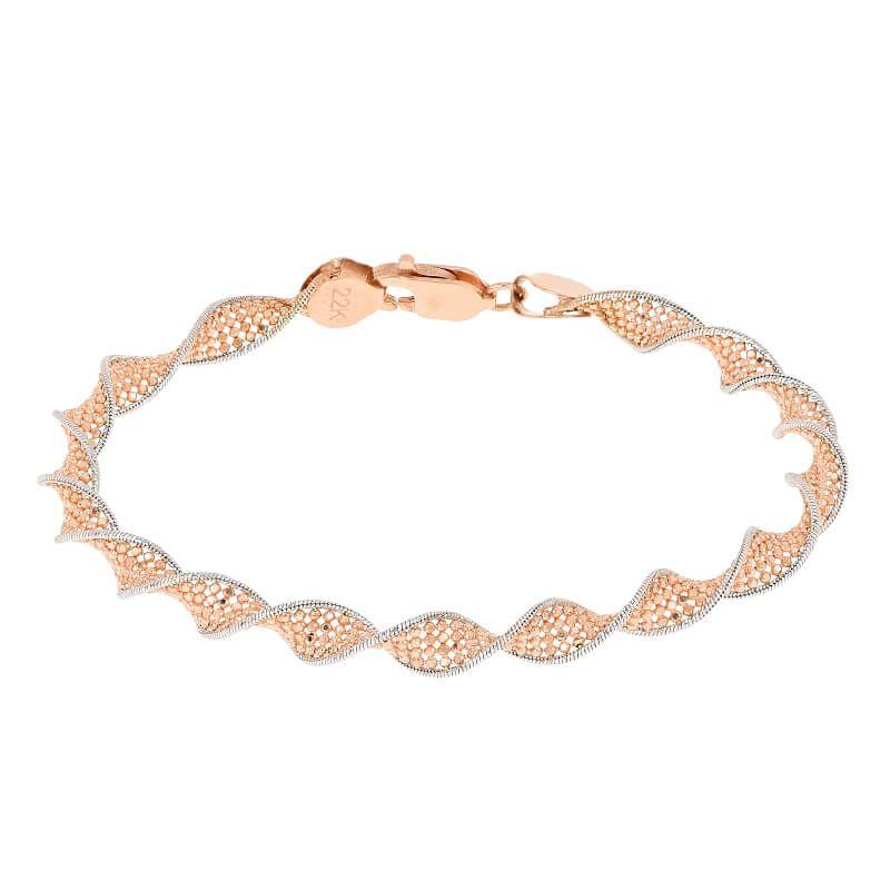 22k Gold Two-Tone Twist Bracelet