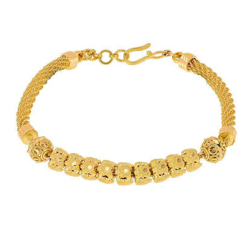 22k Gold Filigree Beads Chain Bracelet